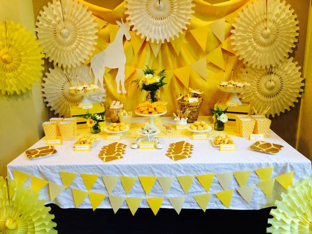 Bright Yellow Giraffe Baby Shower dessert table