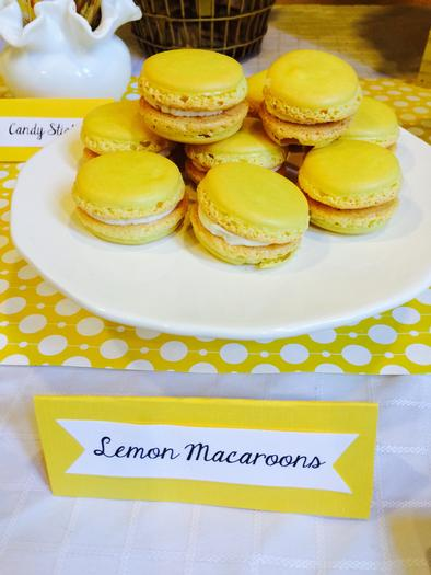 Bright Yellow Giraffe Baby Shower macaroons