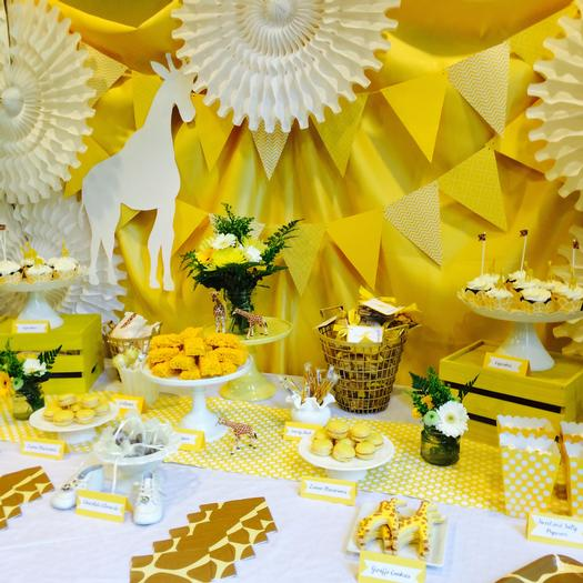 Bright Yellow Giraffe Baby Shower main table