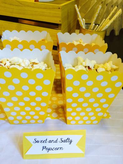 Bright Yellow Giraffe Baby Shower popcorn