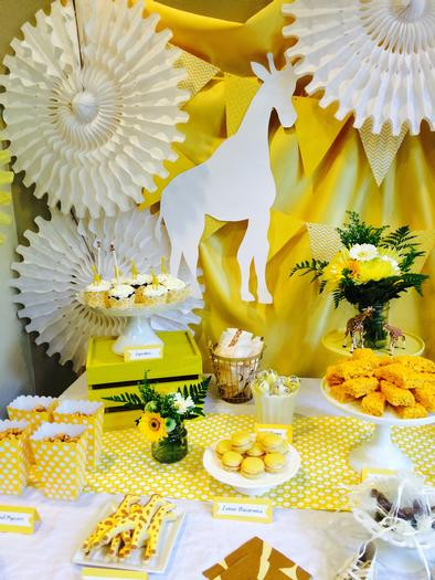 Bright Yellow Giraffe Baby Shower table decoration