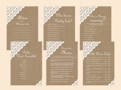 Burlap & Lace Rustic Baby Shower Games Printable