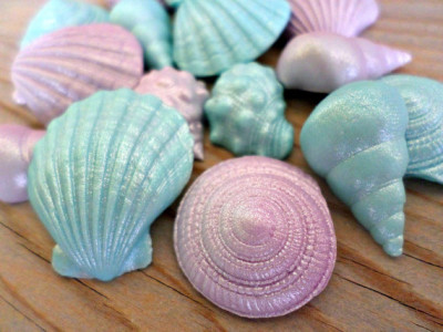 Mermaid Fondant Edible Shells Favor Cake Cupcake Topper Beach Summer Wedding Decor Under the Sea Birthday Baby Bridal Shower Party - set 40