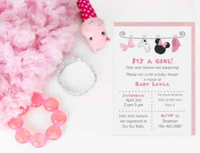 Minnie Mouse Baby Shower Invitation-Digital File