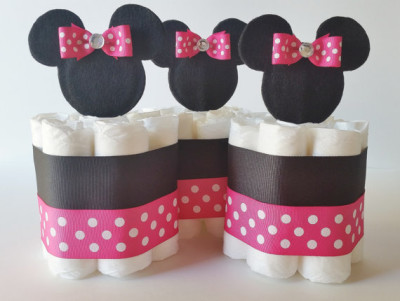 Minnie Mouse Diaper Cake Centerpieces, Minnie Mini Diaper Cakes, Minnie Baby Shower Decorations, Baby Girl Shower Gift