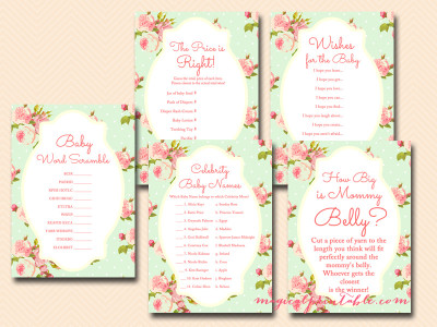 Mint Shabby Chic Baby Shower Game Package