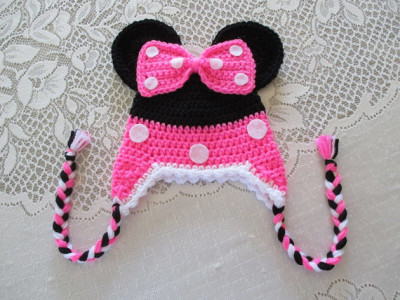 Neon Pink Minnie Mouse Crochet Hat - Photo Prop - Available in Any Size or Color Combination