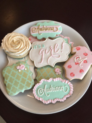 Shabby Chic Baby Shower Cookies