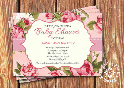 Shabby Chic Baby Shower Invitations pink