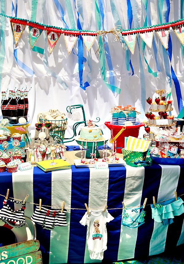 Vintage Beach Theme Baby Shower dessert table