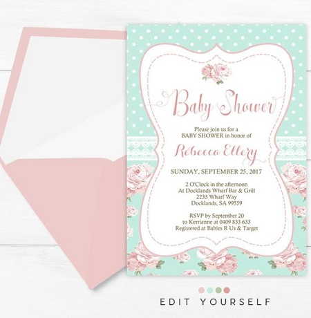 aqua shabby chic baby shower invitation