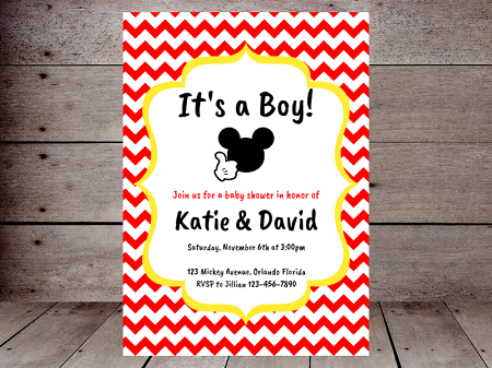 boy mickey mouse baby shower invitation editable