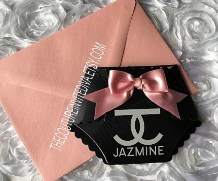 coco chanel baby shower diaper shaped invitation