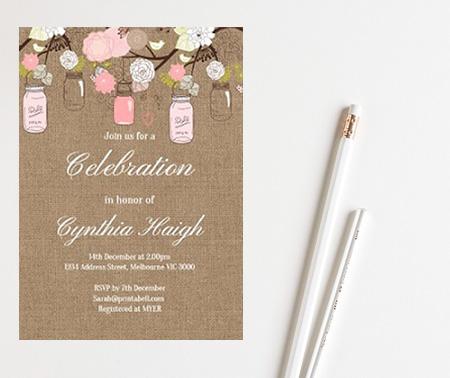 editable burlap shabby chic baby shower invitation