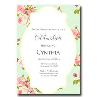editable mint shabby chic invitation