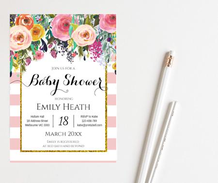 editable pink shabby chic baby shower invitation