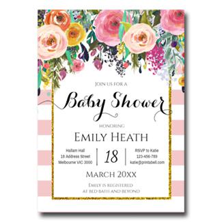 editable pink shabby chic invitation