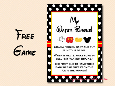 free mickey mouse baby shower games, instant download, my water broke