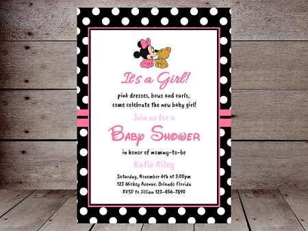 its a girl pink minnie mouse editable baby shower invitation