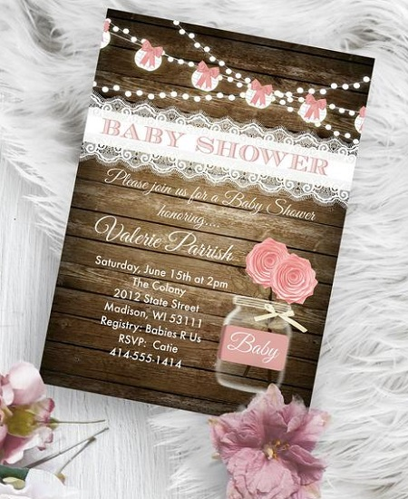 lace and vintage rose invitation