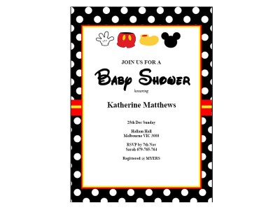 mickey mouse baby shower invitations