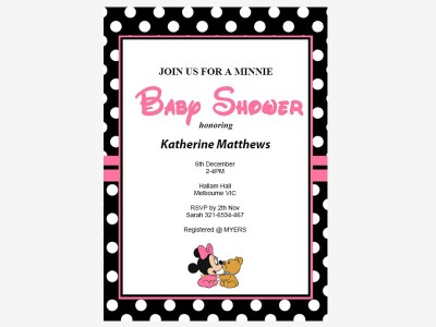 nminnie mouse baby shower invitations