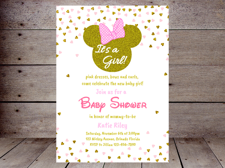 pink and gold minnie mouse baby shower invitation