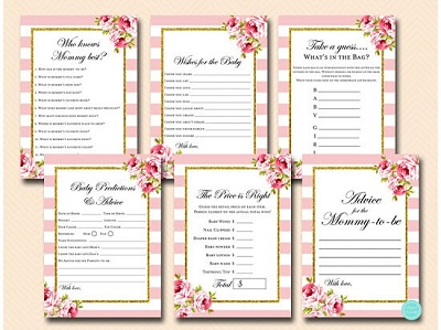 pink and gold shabby chic baby shower game bundle
