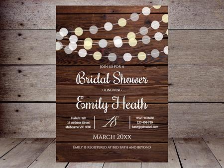wood background light globes invitation