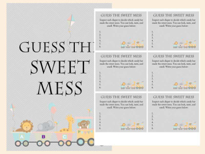 Animal Train Baby Shower Game Pack guess the sweet mess