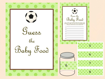 Baby Food Game, Baby Food Jar Labels, Baby food Sign, Green Baby Shower Games, Soccer Baby Shower Games Printable, Sport, Soccer ball TLC38