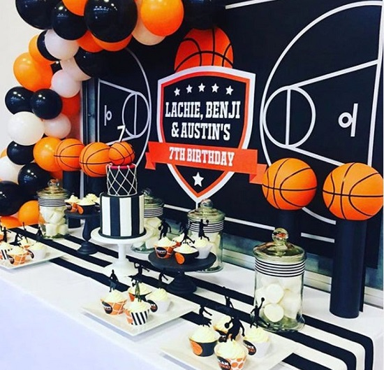 Basketball Themed Photo Booth Backdrop