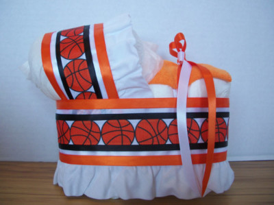 Basketball sports theme boy diaper bassinet baby shower gift table decoration centerpiece