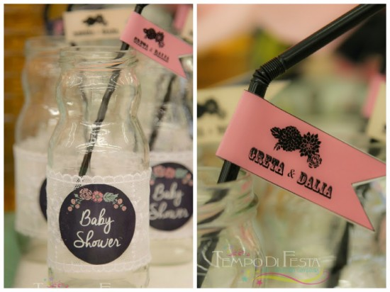 Chalkboard Shabby Chic Baby Shower lace and labels