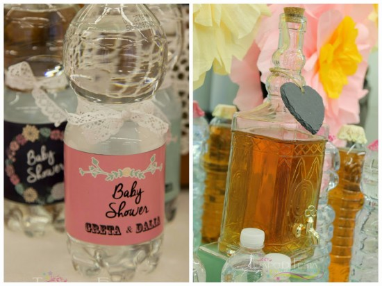 Chalkboard Shabby Chic Baby Shower lace water bottle