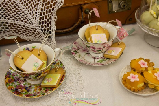 Chalkboard Shabby Chic Baby Shower teabag cookies in a teacup