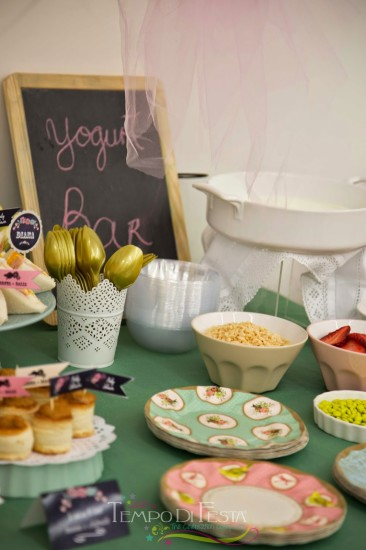 Chalkboard Shabby Chic Baby Shower yogurt bar