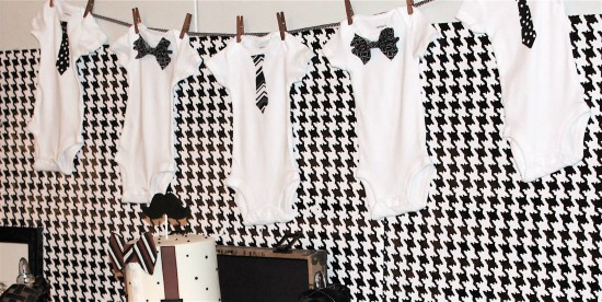 Little Gentleman Baby Shower onesies banner