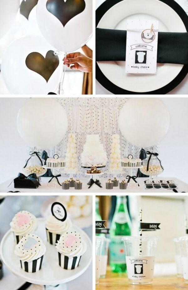 Modern Black and White Baby Shower Tablescape