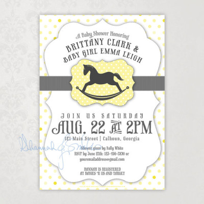 Neutral Rocking Horse Baby Shower Invitation Yellow Gray Polka Dot Print Your Own
