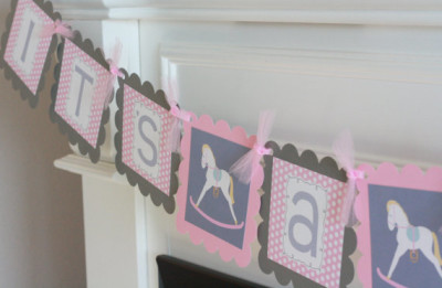 Pink Grey Polka Dot Rocking Horse Horsey Baby Shower