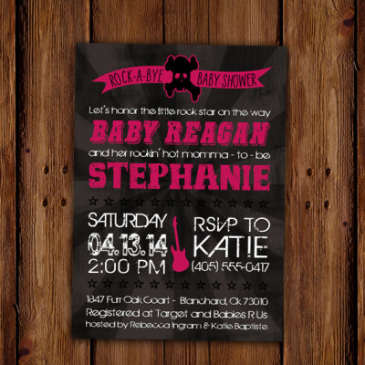 Punk Rock Rock-A-Bye Baby Shower Invitation - Rockstar and Guitar - Skull and Cross Bones Baby Shower PRINTABLE