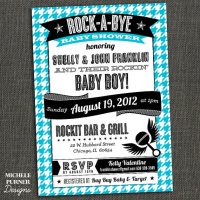 ROCK-A-BYE Baby Shower - Couples Shower - boy or girl - Houndstooth or Zebra - PRINTABLE