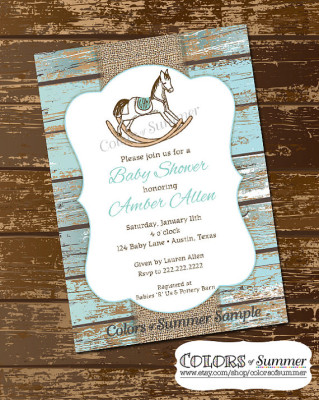Rocking Horse Baby Shower Invitation, Rustic Invite, White Wash Wood, Monogram Invite
