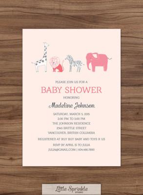 Safari Baby Girl Shower Invitation Zoo Animals