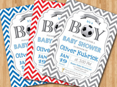 Soccer Baby Shower Invitation. Baby boy chevron invites. Baby boy birthday party invitations. Any custom color. DIY digital printable.