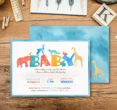 Vintage Animal Baby Shower Invitation, Watercolor Invitation, Safari Baby shower Party Invitation, Zoo Baby Shower, Elephant, Vintage Card