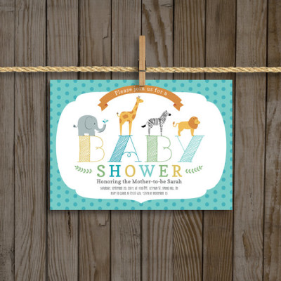 Zoo Animals Baby Shower Invitation for Boy, 5x7, Custom Digtial Download