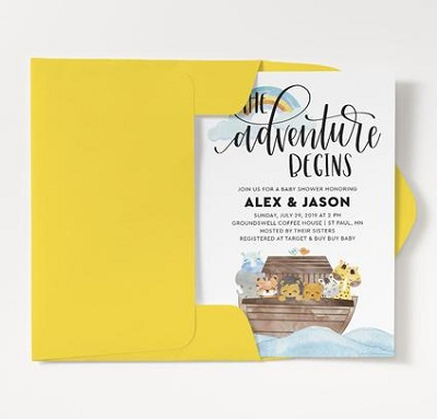 adventure beings noahs ark baby shower invitation