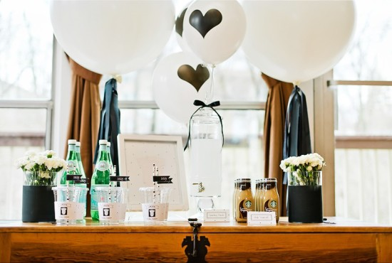 black-and-white-baby-shower-drink-station